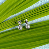 Miniature Pineapple Stud Earrings in Silver