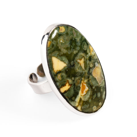 Rainforest Jasper Adjustable Statement Ring - Natural Designer Gemstone