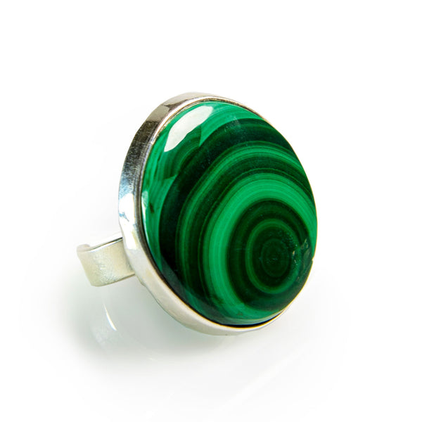 African Malachite Adjustable Statement Ring - Natural Designer Gemstone