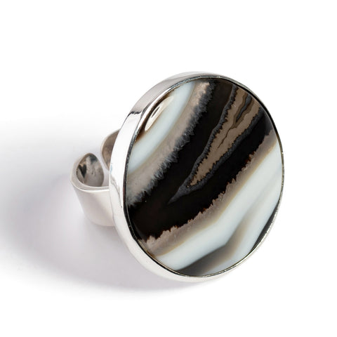 Finest Quality Black Banded Agate Ring - Natural Designer Gemstone