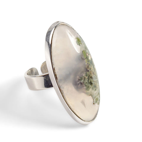Indonesian Oval Moss Agate Ring - Natural Designer Gemstone