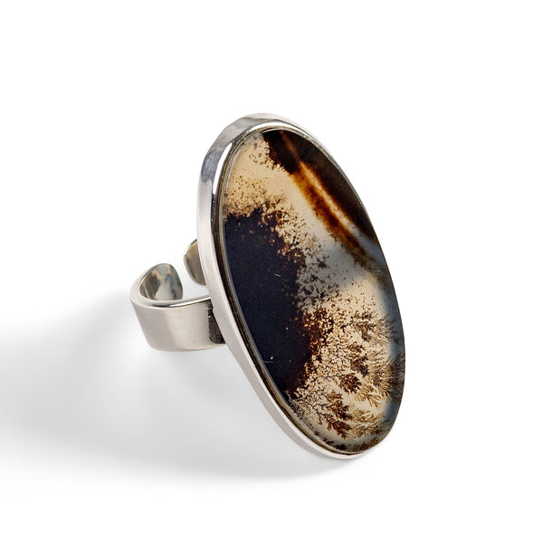 Amazing Dendritic Agate Ring - Natural Designer Gemstone