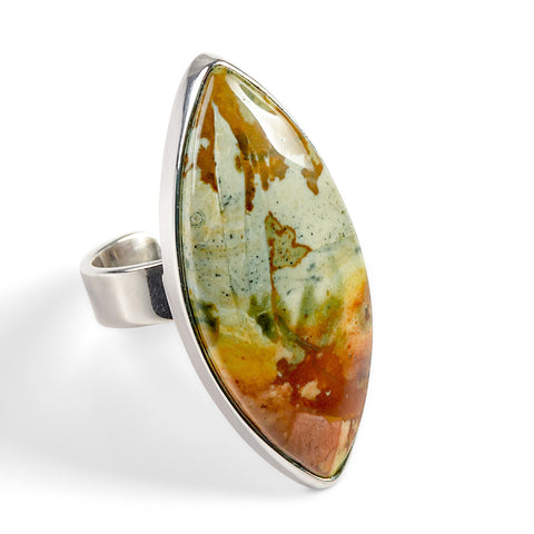 Rocky Butte Jasper Adjustable Statement Ring - Natural Designer Gemstone