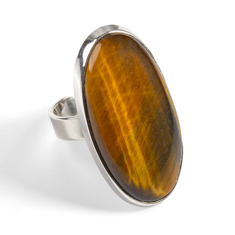 South African Tiger's Eye Statement Ring - Natural Designer Gemstone