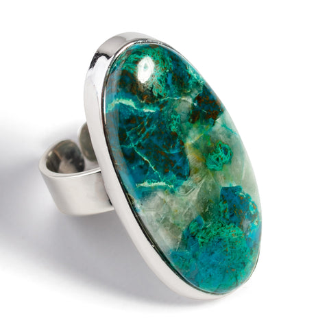 Unique Chrysocolla Adjustable Statement Ring - Natural Designer Gemstone