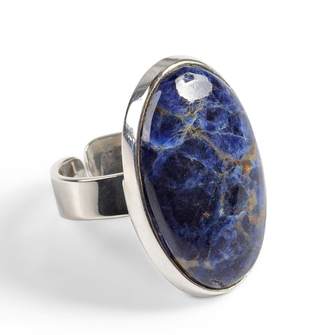 Oval Sodalite Adjustable Statement Ring - Natural Designer Gemstone