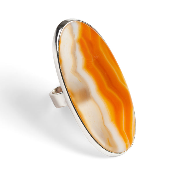 Red Banded Agate Adjustable Statement Ring - Natural Designer Gemstone