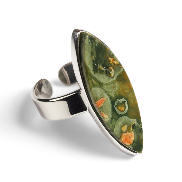 Green Rhyolite Adjustable Statement Ring - Natural Designer Gemstone
