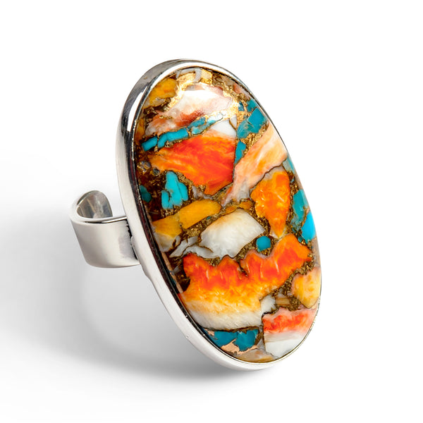 Oyster Copper Turquoise Statement Ring-Natural Designer Gemstones