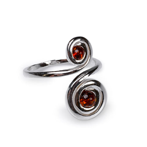 Spiral Design Ring in Silver and Cognac Amber