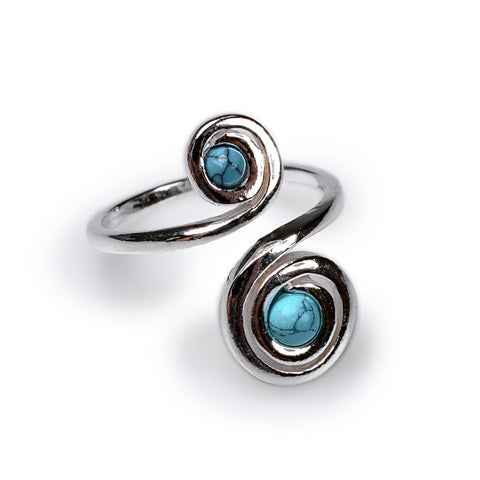 Spiral Design Ring in Silver and Turquoise