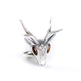 Large Stag Head Ring in Silver and Amber