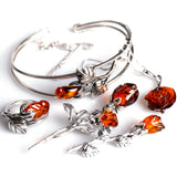 Rose Necklace in Silver and Cognac Amber