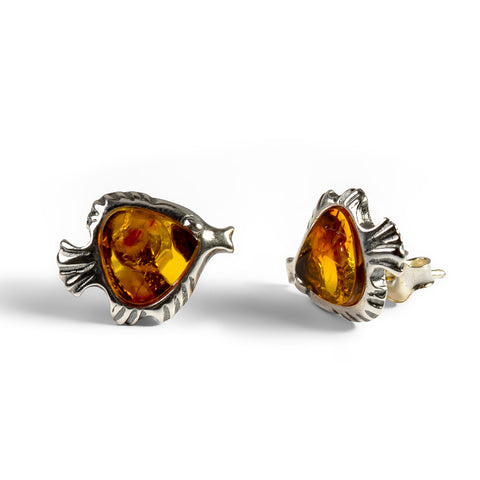 Angelfish Stud Earrings in Silver and Amber
