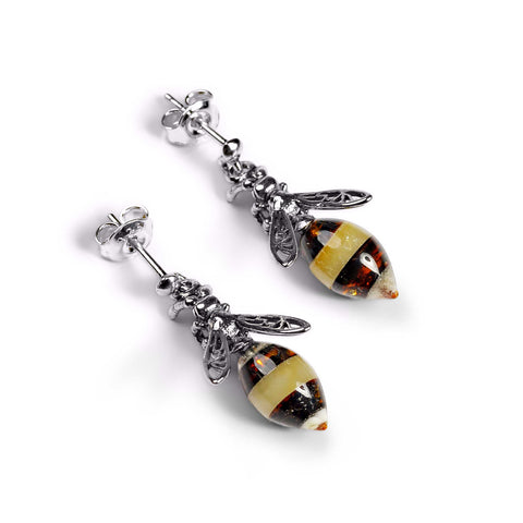 Hornet Bee Stud Drop Earrings in Silver and Amber