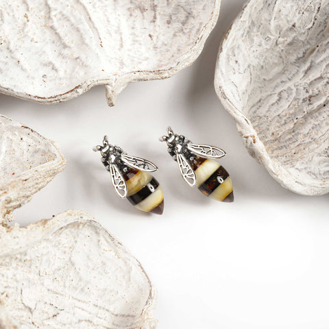 Hornet / Bee Stud Earrings in Silver and Amber
