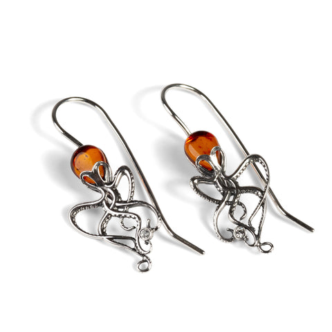 Octopus Earrings in Silver and Amber