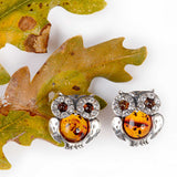 Sparkling Eyed Owl Stud Earrings in Silver and Amber