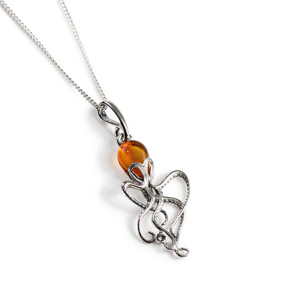 Octopus Necklace in Silver and Amber