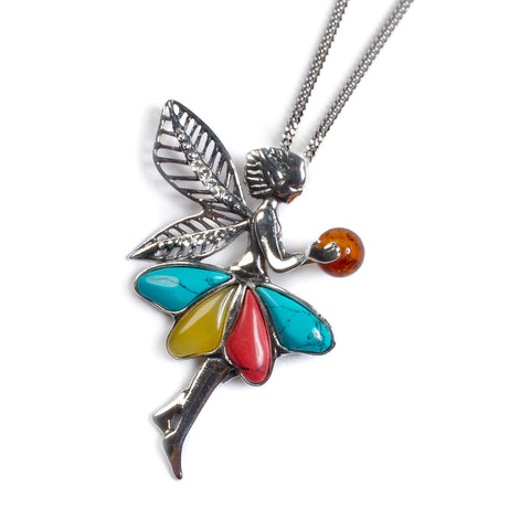 Fairy Necklace in Silver, Amber, Turquoise and Coral