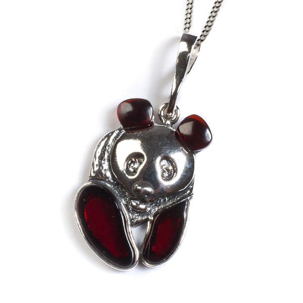Small Playful Panda Necklace in Silver and Cherry Amber