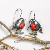 Robin Hook Earrings in Silver and Coral