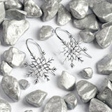 Snowflake Hook Earrings in Silver