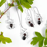 Spider on Web Hook Earrings in Silver and Cherry Amber