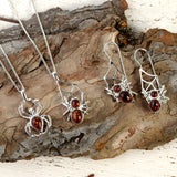 Spider on Web Hook Earrings in Silver and Amber