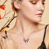 Large Stag Head Necklace in Silver and Amber