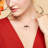Swooping Swallow Necklace in Silver and Amber