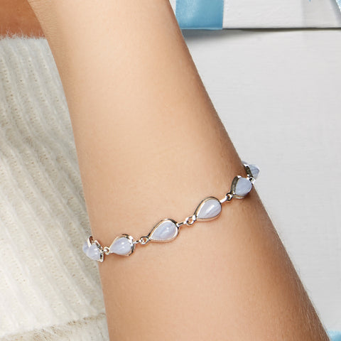 Teardrop Link Bracelet in Silver and Blue Lace Agate