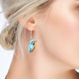 Kingfisher Bird Drop Earrings in Silver, Turquoise and Amber