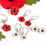 White Poppy Drop Earrings in Silver