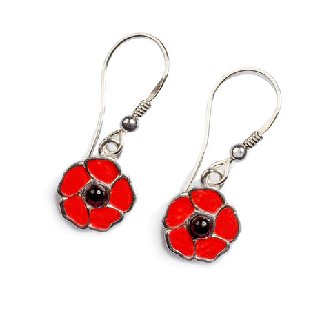 Poppy Drop Earrings in Silver and Amber
