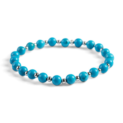 Stretch Bead Bracelet in Silver and Turquoise