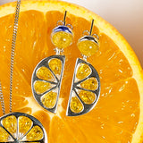 Lemon Slice Drop Earrings in Silver and Yellow Amber