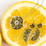 Lime Slice Necklace in Silver and Green Amber