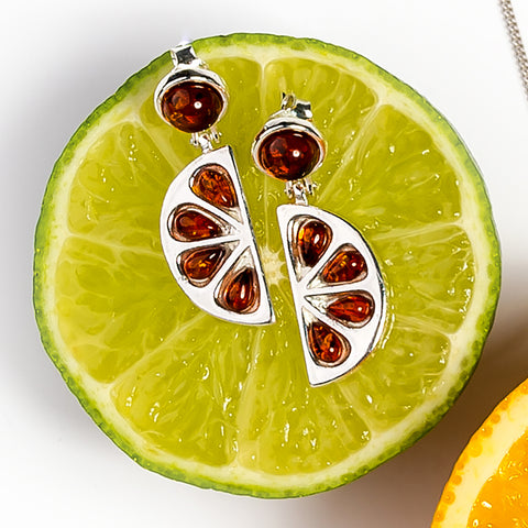 Orange Slice Drop Earrings in Silver and Cognac Amber