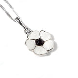 White Peace Poppy Necklace in Silver and Amber