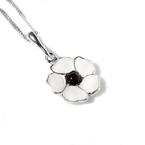 White Peace Poppy Necklace in Silver