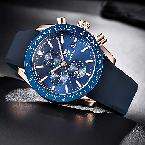 BENYAR - Stylish Wrist Watch for Men, Genuine Silicone Strap Watches, Perfect Quartz Movement, Waterproof and Scratch Resistant, Analog Chronograph Quartz Business Watches, Best Mens Gift