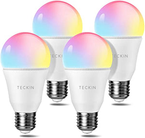 TECKIN Smart Light Bulb LED RGB Color A19 E27 60W 800LM Equivalent Compatible with Alexa Google Home,IFTTT, 2800K-6000K Cold and Warm Light WiFi Blubs(7.5W)