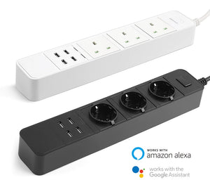 Smart Wifi Power Strip Surge Protector with USB Voice Control for Amazon Echo, Alexa and Google Home (UK TYPE)