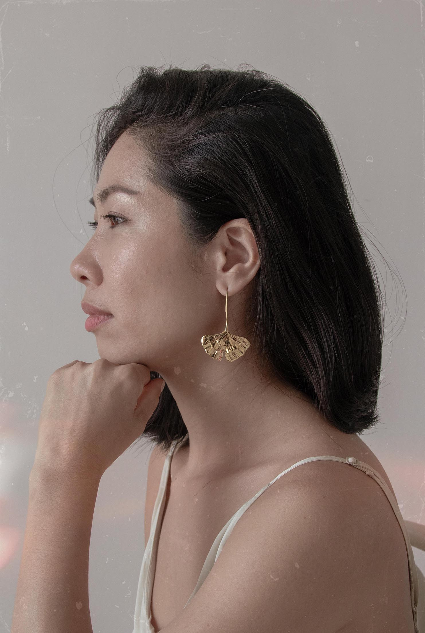 GINKGO EARRINGS - Gold vermeil