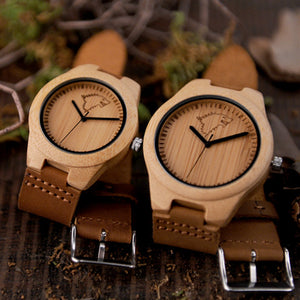 BOBO BIRD Wolf & Deer Bamboo Case Leather Band