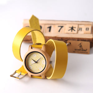 BOBO BIRD Bamboo Watches wrap around Long Leather Strap