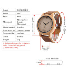 BOBO BIRD Round Bamboo Wooden Watch With Leather Strap