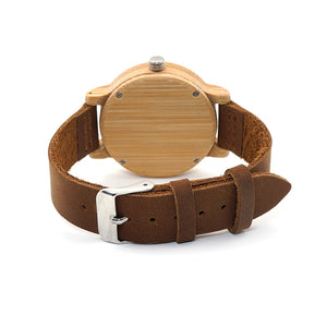 BOBO BIRD Bamboo Wooden Watch Real Leather Band
