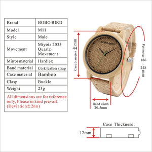 BOBO BIRD Natural Bamboo Watch